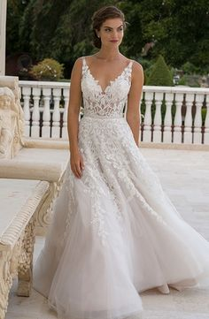 Eve Of Milady - V-Neck A-Line Gown in Embroidery