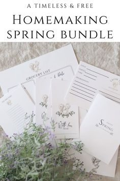 Enjoy this year's Spring Bundle for the homemaker. This simple design is timeless and beautiful. Download it for free. Grocery List Printable, Printable Recipe Cards, Some Cards, Happy Spring, Slow Living, Simple Living, Homemaking, Diy Tutorial, Simple Designs