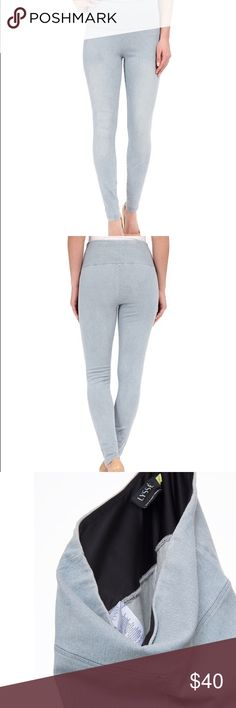 Lyssé High Waist Light Denim Leggings-Shaping Lyssé High Waist Light Denim Leggings Designed with a super high-waisted silhouette and soft stretch lining to ensure a flattering fit, Lyssé's light denim leggings are the perfect foundation to any off-duty outfit. Flatten your tummy and smooth your lower back. Size medium. Hardly worn. Fits true to size Elasticized waistband with lining High-rise, skinny silhouette, pull-on style Lysse Pants Leggings
