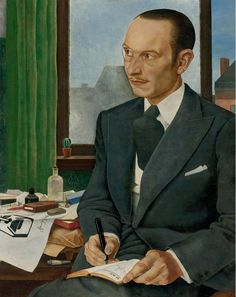 Portrait of George Goedecker, 1929 by Manfred Hirzel (1905-1932)...here a broad tie with monocle, pencil moustache & white waistcoat. From the paraphenalia on the desk the sitter looks as if he were a graphic designer ...