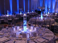 Wedding reception at Hilton Orlando. Linens, place settings, centerpieces