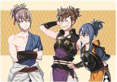 Fire Emblem Fates. Takumi, Hinata, and Oboro. Takumi and his hair followers