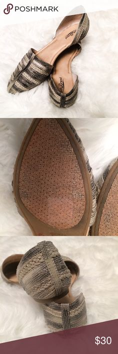 Lucky Brand pointed flat 8/8.5 gray Great used condition, worn twice. Size says 8, however I normally wear an 8.5 and they fit me great. Lucky brand Lucky Brand Shoes Flats & Loafers