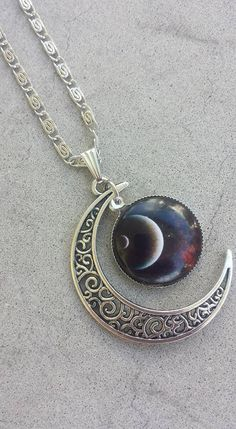 Stars and Moon Necklace, Crescent Moon Necklace, Wiccan Necklace, Celestial Pendant Necklace, Moon Jewelry, Witch Necklace, Hippie Necklace by YaYaHippieEmporium on Etsy