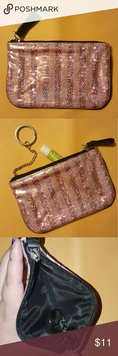 Cute little VS bag! Victoria Secret make up bag.    Chapstick is for size comparison. Never used! So fun and girly! Victoria's Secret Accessories Key & Card Holders