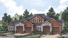 Multi-Family Plan 58965 - One-Story, Tudor Style Multi-Family Plan with 3465 Sq Ft, 2 Bed, 2 Bath, 2 Car Garage Family House Plans, Country House Plans, Best House Plans, Duplex Floor Plans, Multi Family Homes, Craftsman House Plans, Craftsman Style, House Blueprints, Cabin Homes