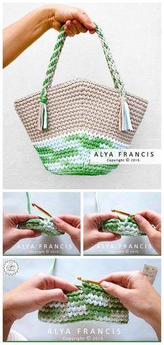 Crochet T-Shirt Yarn Tote Bag - Melissa Bag Crochet, Crochet Purses, Crochet Yarn, Free Crochet, Crochet Flower Patterns, Crochet Designs, Knitting Patterns, Tshirt Garn, Crochet T Shirts