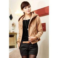 Fashional cruzado con capucha de manga larga de lana Tejido Mujeres chaqueta para Vender - La Tienda En Online IGOGO.ES