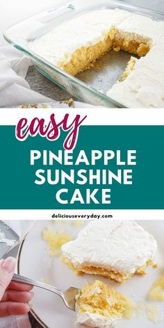 If you're into quick dump recipes, you're going to love this classic Pineapple Sunshine Cake. It's a quick and easy recipe with a basic cake mix fancied up with crushed pineapple and whipped cream. As the cherry on top, you can actually add, well, cherries! Dump Recipes, Dump Meals, Cake Recipes, Vegetarian Christmas Recipes, Vegan Christmas, Oreo Poke Cakes, Homemade Cake Mixes, Sunshine Cake, Basic Cake