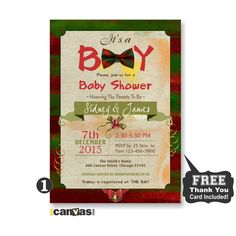 Bow Tie Baby Shower Invitation, It's a Boy Baby Shower Invite, Rustic Vintage, Holiday Baby Shower, Holiday Christmas Invite, Shabby Chic115 by 800Canvas on Etsy