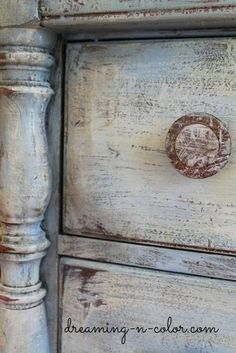 DIY: How To Get A Layered Paint Finish - aged finish is achieved by dry brushing different colors of paint, then distressing and waxing. by Amanda Higley