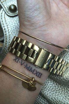 Ideas Tattoo Ideas Wrist Roman Numerals For 2019 Inner Arm Tattoos, Wrist Tattoos, Mini Tattoos, Trendy Tattoos, Body Art Tattoos, Small Tattoos, Sleeve Tattoos, Flower Tattoos, Tatoos