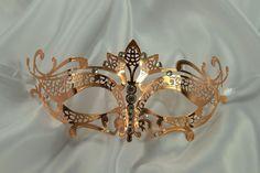Rose Gold Masquerade Mask Collection - Elegant Metal Filigree Laser Cut Masquerade Mask