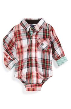 Free shipping and returns on Andy & Evan for little gentlemen 'Tis the Season' Bodysuit (Baby Boys) at Nordstrom.com. Need a handsome outfit for baby's first Christmas card? He'll spread holiday cheer in a festive plaid button-down bodysuit with contrasting gingham cuffs for added seasonal style.