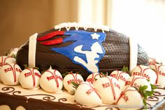 New England Patriots football shaped groom's cake with Boston Red Sox chocolate covered strawberries - Houston wedding photography - MD Turner Photography Different Wedding Cakes, Cool Wedding Cakes, Red Sox Cake, Wedding Thanks, Football Food, Patriots Football, Custom Candy, Sons Birthday, Chocolate Covered Strawberries