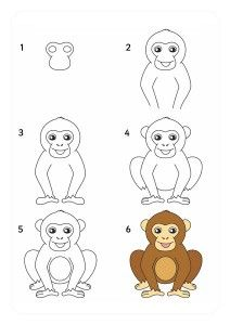 How To Draw Easy Animals Step By Step Image Guide - Art Worksheets - Easy Animal Drawings, Art Drawings For Kids, Drawing For Kids, Easy Drawings, Art For Kids, Monkey Drawing Easy, Animals Drawing Images, Drawing Lessons, Art Lessons