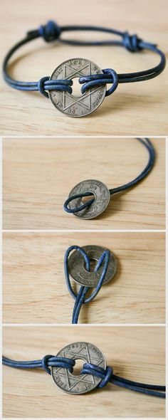 Turn a souvenir coin from your travels into a simple, attractive bracelet. (This…