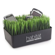 """Grass Charging Station A high-tech firm wanted to get their salespeople """"Charged Up"""" for the newest product launch. They gave each salesperson the Grass Charging Station which is an amusing way (High Tech Gifts) Electronic Charging Station, Charging Stations, Purple Squirrel, New Product, Product Launch, Faux Grass, Promo Gifts, Phone Gadgets, Desk Gadgets"""