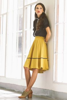 love the mustard color! A darling vintage-inspired outfit for the fall. #ruche #shopruche