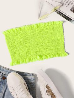 To find out about the Neon Green Shirred Tube Top at SHEIN, part of our latest Tank Tops & Camis ready to shop online today! Tube Top Outfits, Neon Outfits, Teen Fashion Outfits, Trendy Outfits, Girl Outfits, Cute Outfits, Outfits For Teens, Neon Top, Clothing Photography