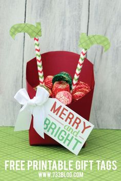 Merry & Bright Gift Tags and Elf in a Fry Box Gift Idea