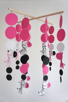 pink and zebra wind chime?  With crystals, and Styrofoam ornaments--see other pin