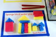 Sponge block water play by Teach Preschool