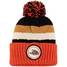 2aca6f75562 Men s Anaheim Ducks Mitchell   Ness Orange Black Quilted Crown Jersey  Stripe Hi-Five Cuffed Knit Hat with Pom