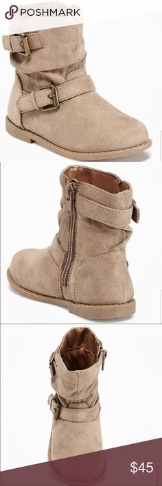 """Sueded Double-Buckle Boots Taupe Never worn no tags. No trades. Make an offer. Brand new. Never worn. NO TAGS ATTACHED. Scrunchy sueded upper, with double buckled straps. Side-zippers for easy on and off. Lined sock and cushioned foot bed. 1/2"""" heel. Textured outsole. 100% polyester. Imported. Old Navy Shoes Boots"""