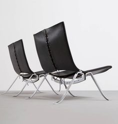 Preben Fabricius; Leather, Steel and Cord Lounge Chairs, 1971.