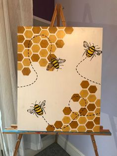 Small Canvas Paintings, Easy Canvas Art, Small Canvas Art, Mini Canvas Art, Diy Canvas, Drawing On Canvas, Canvas Painting Designs, Easy Canvas Painting, Bee Painting