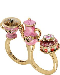 PARIS TEAPOT CUP TWO FINGER RING PINK accessories jewelry rings fashion