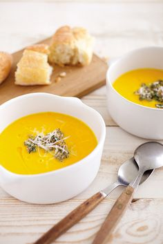 Butternut squash soup with walnut pesto