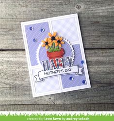 It's Lawn Fawn inspiration week, and today, I have a card to share with you using the new Peekaboo Backdrop die and a fe. Cute Cards, Diy Cards, Lawn Fawn Blog, Lawn Fawn Stamps, Cards For Friends, Friend Cards, Little Flowers, Mothers Day Cards, Flower Cards