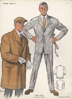 Man in Cap, Vintage Fashion Print, 1956