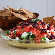 Mediterranean 7 Layer Dip.  Try this instead of Mexican 7 Layer Dip, it's delicious!