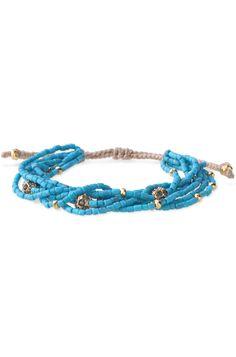 Turquoise Beaded & Gold Ball Adujustable Bracelet | Callie Bracelet | Stella & Dot