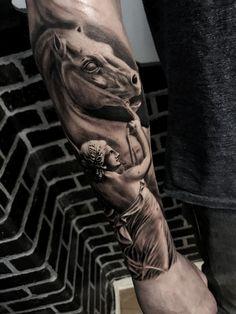 Sculpture tattoo by @omargaviriag on instgram #tattoo #sculpture #greek #pegasus #mitology #omargaviriag #horse #horsetattoo