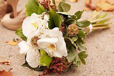 Broomcorn, Scabiosa Pods, Hydrangea, Green Goddess Callas, Phalaenopsis orchids