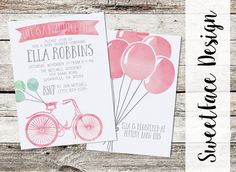PDF files Life Is A Beautiful Ride baby shower invitation, watercolor bicycle with balloons, pink blue or yellow. Baby shower boy or girl  by SweetFaceDesign