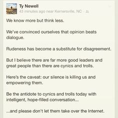 Love this from @tydnewell ! Intelligent, hope-filled conversation. ❤️ #quotes #truth #inspire #wellness