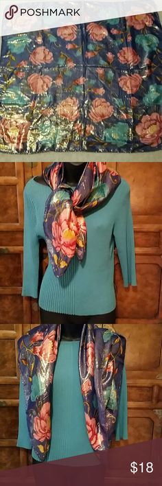 SCARF WITH GOLD  THREADS. GORGEOUS COLORS , A REALLY NICE SCARF  ,N W O T ..ADD TO YOUR COLLECTION  TODAY. MADE IN INDIA,  'SZ 33X33. BUNDLE AND SAVE  ! Accessories
