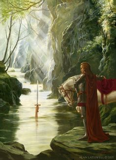 Excalibur (The return of Excalibur to the Lady of the Lake) by Alan Lathwell, June 2007 King Arthur Legend, Legend Of King, Fantasy World, Fantasy Art, Morgana Le Fay, Mists Of Avalon, Roi Arthur, Green Knight, Dragons