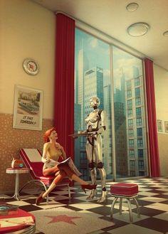 Retro Futurism art! Robot servant.