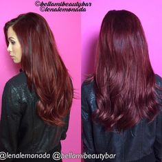 """Cherry Cola  this custom color is #hairgoals for 2016! This is our time to be bold ❤️ @tawniejaclyn visited the @bellamibeautybar & @lenalemonada for…"""