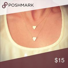 Two layer triangle necklace Color gold Jewelry Necklaces