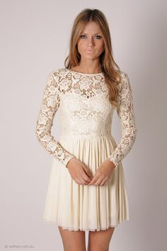 Fashion White A Dress, Women Long Sleeve Lace Dress, Special ...