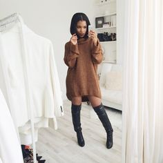 Shirley B Eniang Rocking Brown Sweater Dress With Black Knee High Boots Winter Fashion Style Female Trend