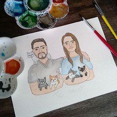 Casal com seus bichanos saindo 😻💕 ⚪ ⚪ ⚪ #watercolour #watercolor #aquarelle #aquarela #ilustración #ilustração #illustration #draw #sketch #paint #desenho #dibujo #desenhando #casal #cats #catlovers #love #amor #diadosnamorados #couple #gatinho #gato #bichano #aquarelinhas #wip