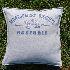 Throw Pillow Sham Cover made from Montgomery Biscuits Baseball T-shirt. $20.00, via Etsy.